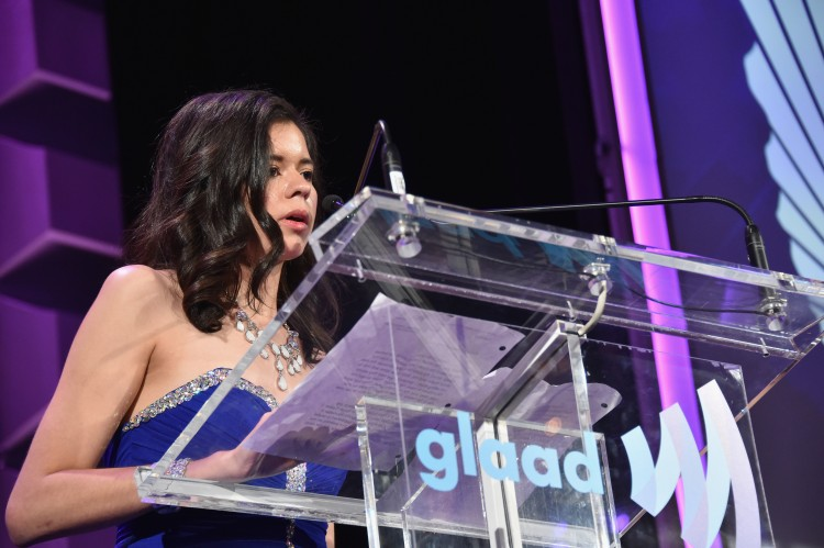 Kristene Chapa speaking at the GLAAD Media Awards